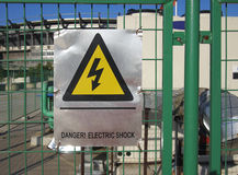 Electricity Danger sign. In the metal plate Stock Photo