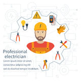 Electricity design concept. Professional electrician. Electricity service. Maintenance and repair of electrical circuits. Electricity service.Icons and Stock Photography