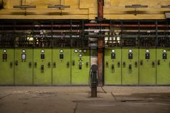 Electricity distribution hall in metal industry Stock Photos