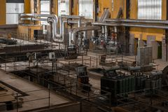 Electricity distribution hall in metal industry Royalty Free Stock Image