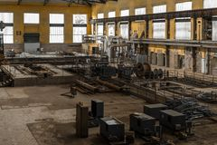 Electricity distribution hall in metal industry Royalty Free Stock Photography