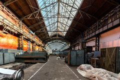 Electricity distribution hall in metal industry Royalty Free Stock Images