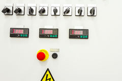 Electricity distribution place with display, fuse box Royalty Free Stock Images