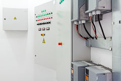 Electricity distribution place. Fuse box. Royalty Free Stock Images