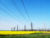 High-voltage power lines. electricity distribution station. Electricity distribution station. high-voltage power lines. electricity supply in Ukraine royalty free stock images