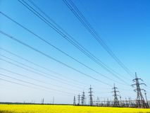 High-voltage power lines. electricity distribution station. Electricity distribution station. high-voltage power lines. electricity supply in Ukraine royalty free stock photos