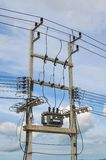 Electricity distribution transformer Royalty Free Stock Photos