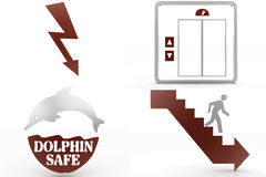 Electricity Dolphin Safe Down Stairs  Symbols Stock Photos