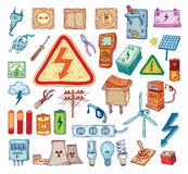 Electricity Doodle icon collection, vector illustration Royalty Free Stock Photos