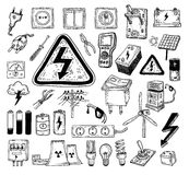 Electricity Doodle icon collection, vector illustration Royalty Free Stock Images