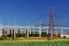 Electricity, electric station. Electricity station, supply of electric energy by pylons and transformer stock photography