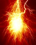 Electricity. Electrical spark or lightning on a bright red background Stock Images
