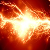 Electricity. Electrical spark or lightning on a bright red background Royalty Free Stock Photos