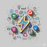 Electricity emblem. Environment collage with icons background Royalty Free Stock Image