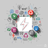 Electricity emblem. Environment collage with icons background Royalty Free Stock Images