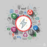 Electricity emblem. Environment collage with icons background Stock Photography