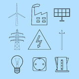Electricity and energetics icons set. Set of line icons representing electricity and energetics concepts Stock Photography