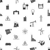 Electricity and energy icons and symbol seamless pattern eps10 Royalty Free Stock Photos