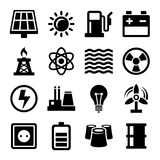 Electricity Energy and Power Icons Set Stock Photo