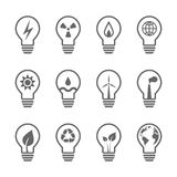 Electricity and energy related light bulb set. Electricity and energy related lightbulbs. Eps10 vector illustration and icon set Stock Photo