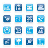 Electricity and Energy source icons. Vector icon set Royalty Free Stock Photo