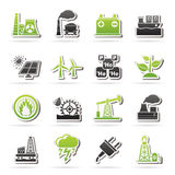 Electricity and Energy source icons. Vector icon set Royalty Free Stock Photography