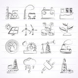 Electricity and Energy source icons. Vector icon set Stock Images