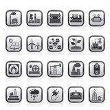 Electricity and Energy source icons Stock Photos