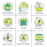Electricity Energy Supply Power Invention, Heating, Smart Control, Air Conditioning Icon Set Stock Image