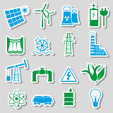 Electricity and energy symbol color stickers set eps10  Stock Photos