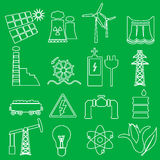 Electricity and energy symbol outline icons set  Stock Images