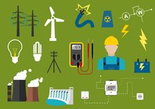Electricity and engineering flat icons Royalty Free Stock Photography
