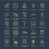 Electricity engineering vector flat line icons. Electrical equipment, power socket, torn wire, energy meter, lamp Royalty Free Stock Photography