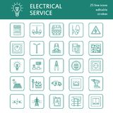 Electricity engineering vector flat line icons. Electrical equipment, power socket, torn wire, energy meter, lamp Royalty Free Stock Image
