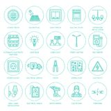 Electricity engineering vector flat line icons. Electrical equipment, power socket, torn wire, energy meter, lamp Stock Photos