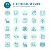 Electricity engineering vector flat line icons. Electrical equipment, power socket, torn wire, energy meter, lamp Royalty Free Stock Images
