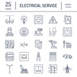 Electricity engineering vector flat line icons.  Royalty Free Stock Images