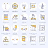 Electricity engineering vector flat line icons.   Stock Photography