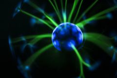 Electricity fire-ball. Abstract photo of electric waves. Static electricity stock photography