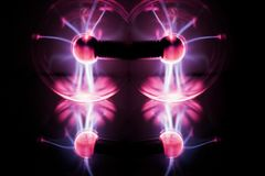 Electricity fire-ball. Abstract photo of electric waves. Static electricity Royalty Free Stock Photos