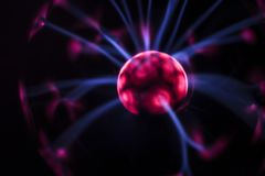 Electricity fire-ball. Abstract photo of electric waves. Stock Images