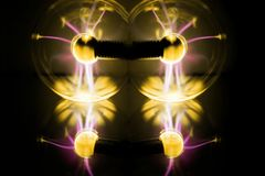 Electricity fire-ball. Abstract photo of electric waves. Static electricity Royalty Free Stock Photography