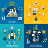 Electricity Flat Compositions. Flat compositions with electricity generation including wind turbines, green energy, professional electrician and equipment Royalty Free Stock Photo