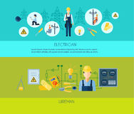 Electricity Flat Horizontal Banners Stock Image