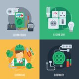 Electricity Flat Icons Stock Images