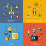 Electricity Flat Set. Electricity design concept set with electrician generation circuit power banks flat icons  vector illustration Stock Images