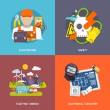 Electricity Flat Set Stock Image