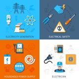Electricity Flat Set. Electricity design concept set with generation electrical safety household power supply electrician flat icons isolated vector illustration Stock Photography