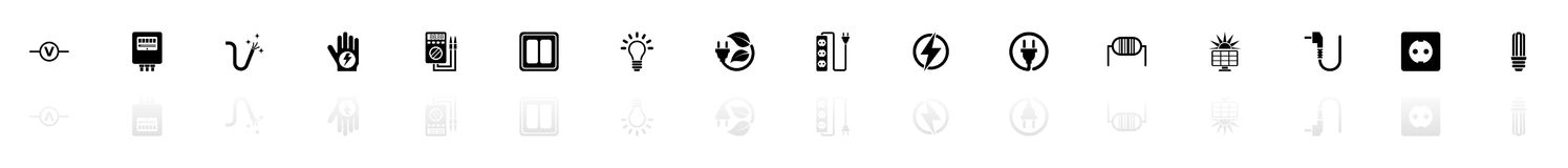 Electricity - Flat Vector Icons. Electricity icons - Black horizontal Illustration symbol on White Background with a mirror Shadow reflection. Flat Vector Icon royalty free illustration