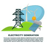 Electricity generation equipment on promotional poster with sample text. Wind power plant, solar battery and huge antenna on green field isolated cartoon stock illustration